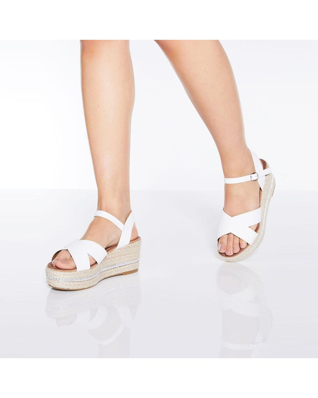 e060003ef0 Quiz White Strap Flatform Wedge Sandals in White - Lyst