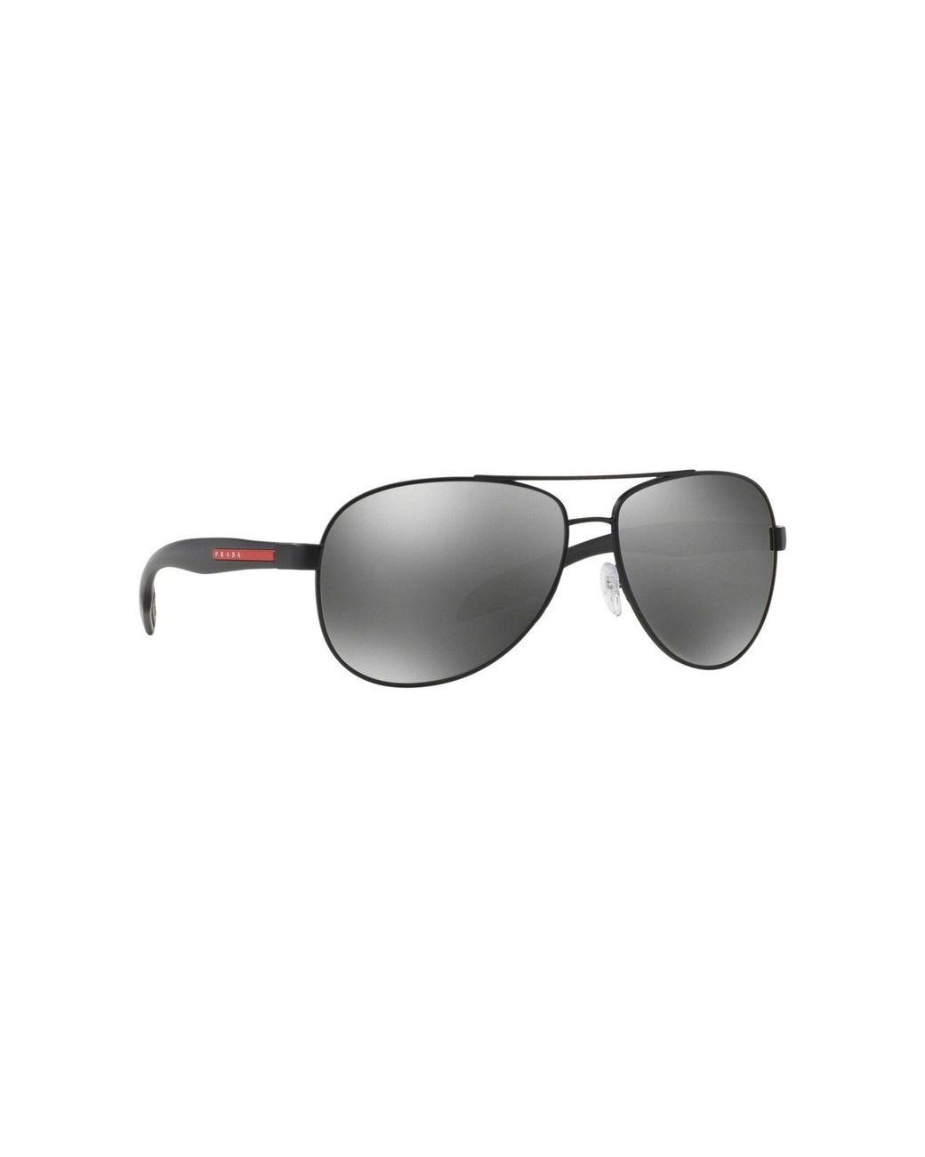 bcb69260e7a1 Prada Black Ps53ps Pilot Sunglasses in Black for Men - Lyst