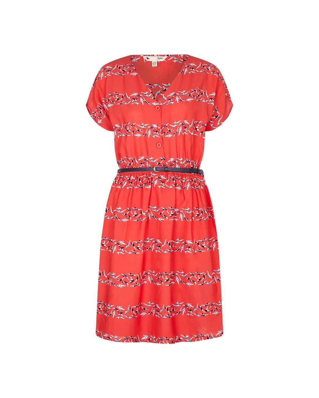 6364f0a631 Yumi' Red Cold Shoulder Swimmer 'aayat' Print Dress in Red - Lyst
