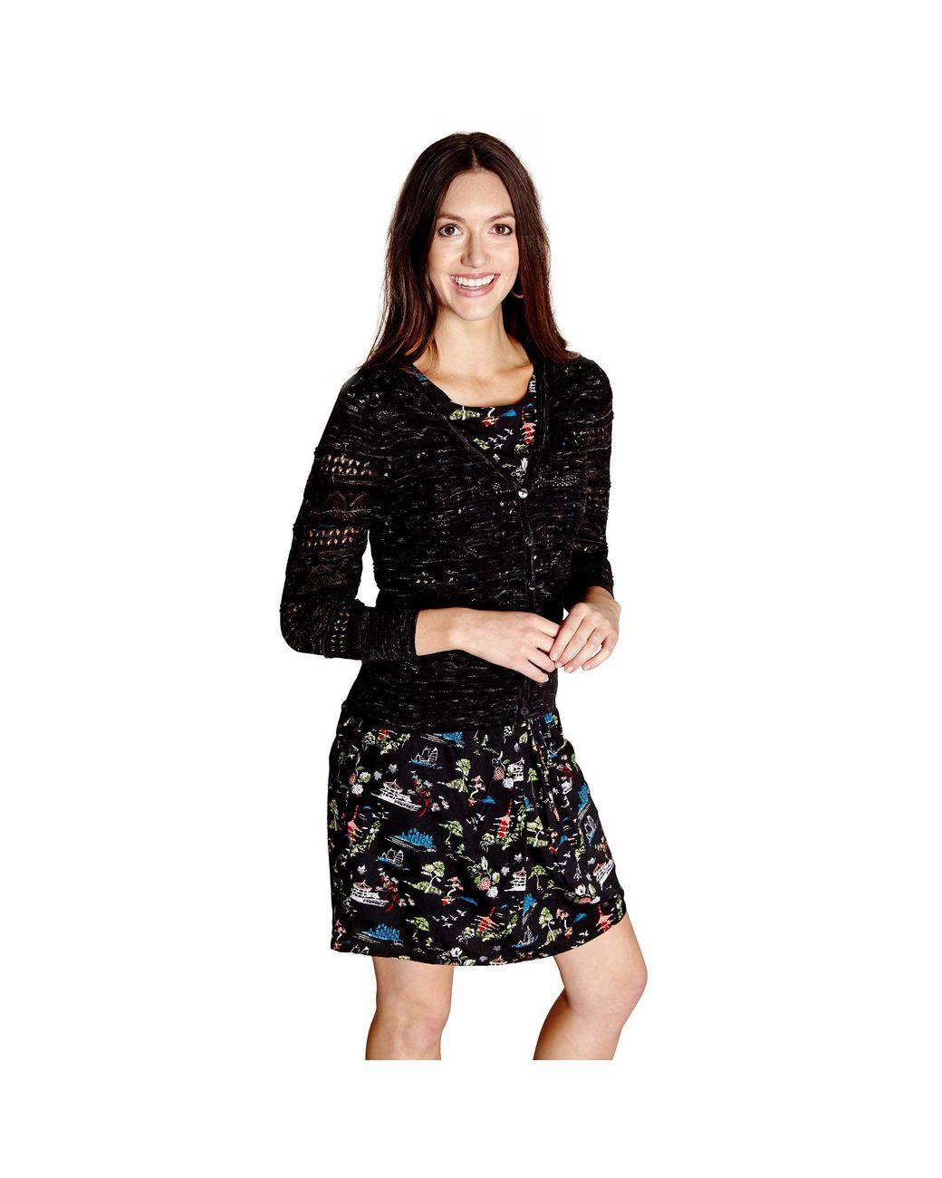 eb9ade02afd Yumi  Black Pointelle Stitch Marl Cardigan in Black - Lyst