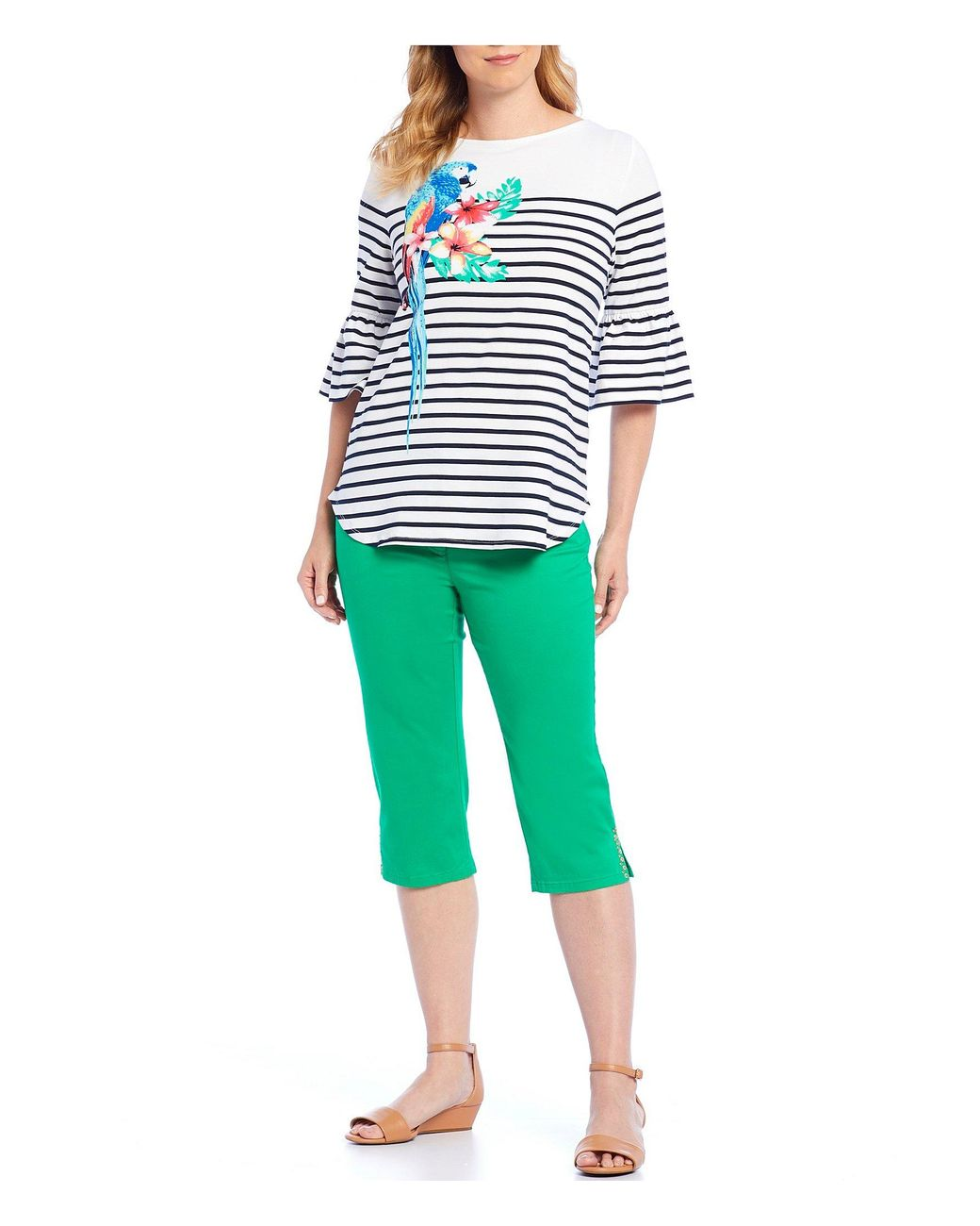 6f00e9441480 Ruby Rd. Striped Parrot Placement Print Embellished Bateau Neck Top in  White - Lyst