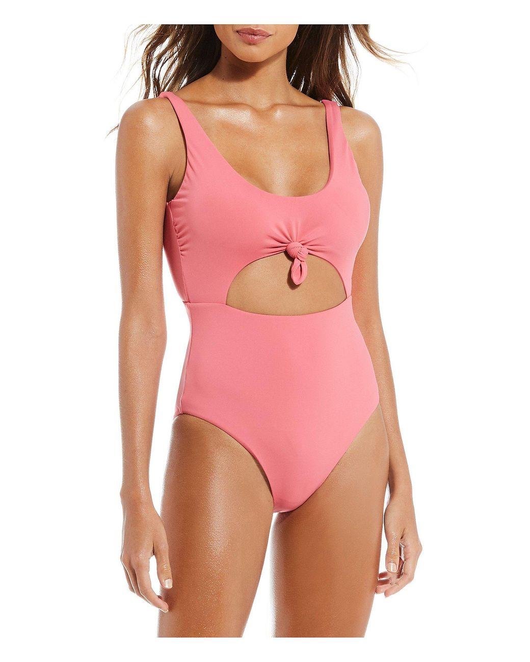 53637a1f9fcee Gianni Bini Fan Fav Knot Cutout One Piece Swimsuit in Pink - Lyst