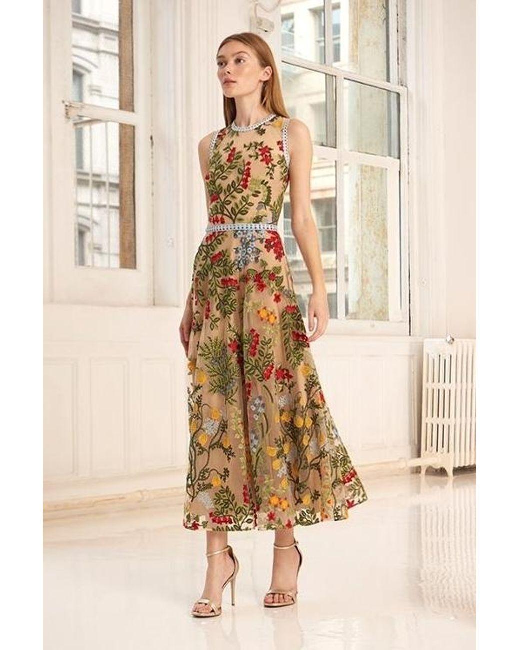 2c846166ea1 Lyst - ML Monique Lhuillier Sleeveless Floral Midi Dress in Natural