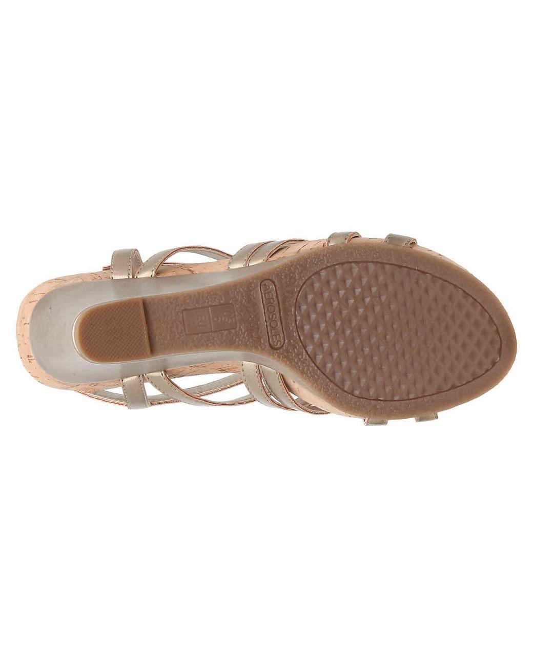 ea1707e75d2 Lyst - Aerosoles Lux Plush Wedge Sandal in Metallic