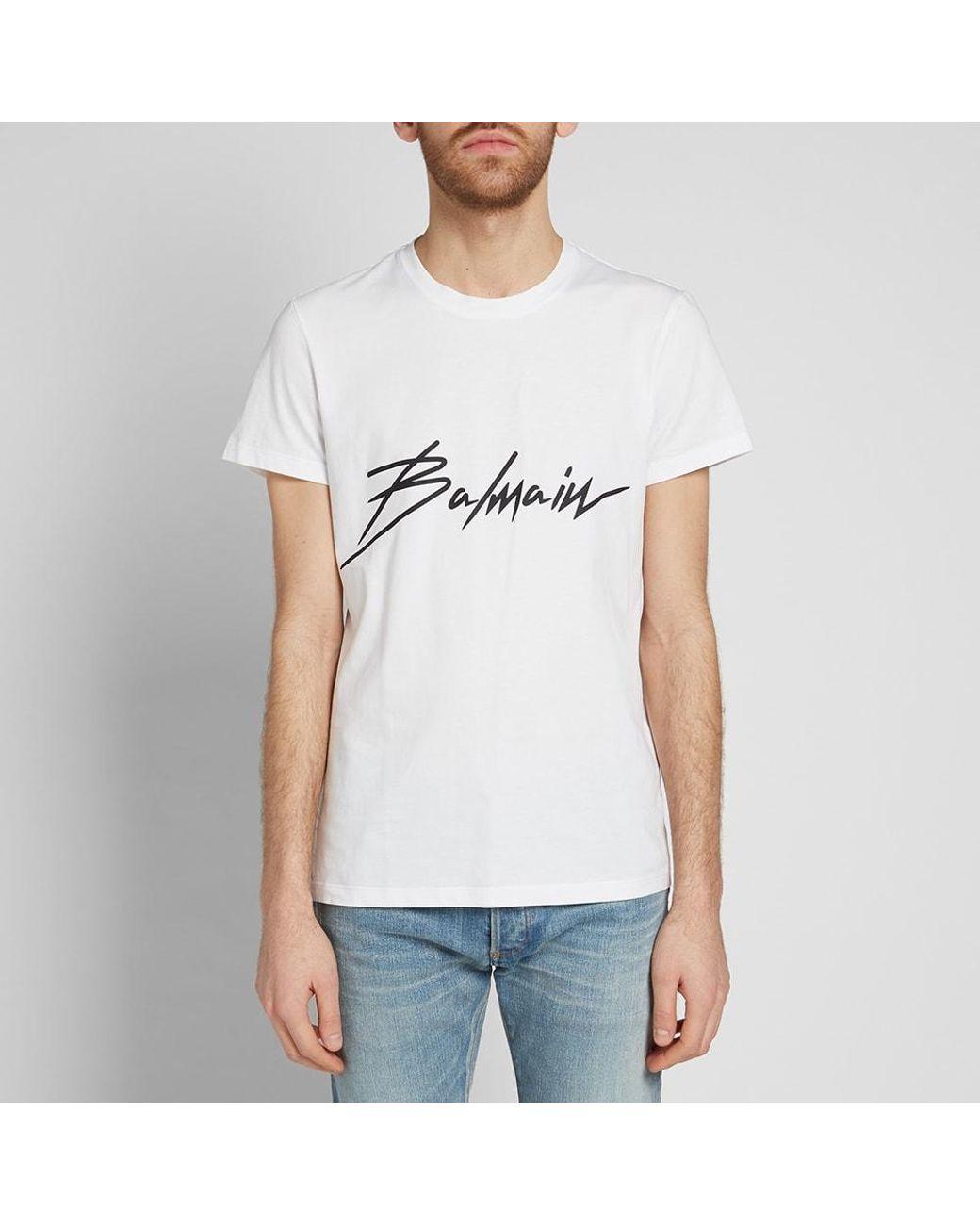 ce0b5ff1 Balmain Signature Logo Tee in White for Men - Lyst