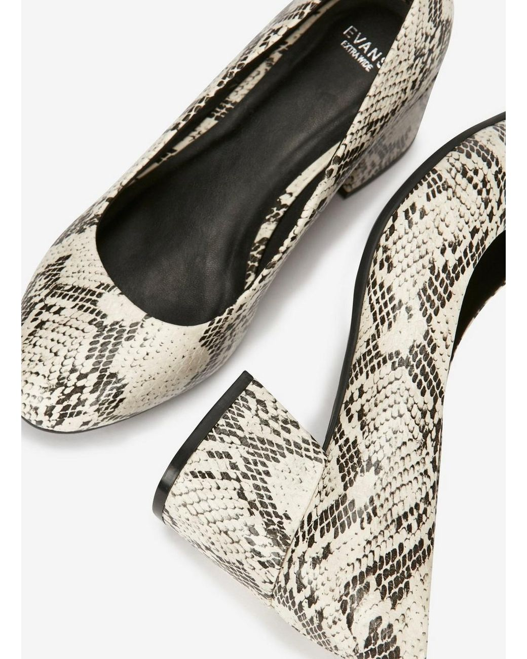ea3529df12 Evans Extra Wide Fit Ivory Snake Print Court Shoes - Save 10% - Lyst