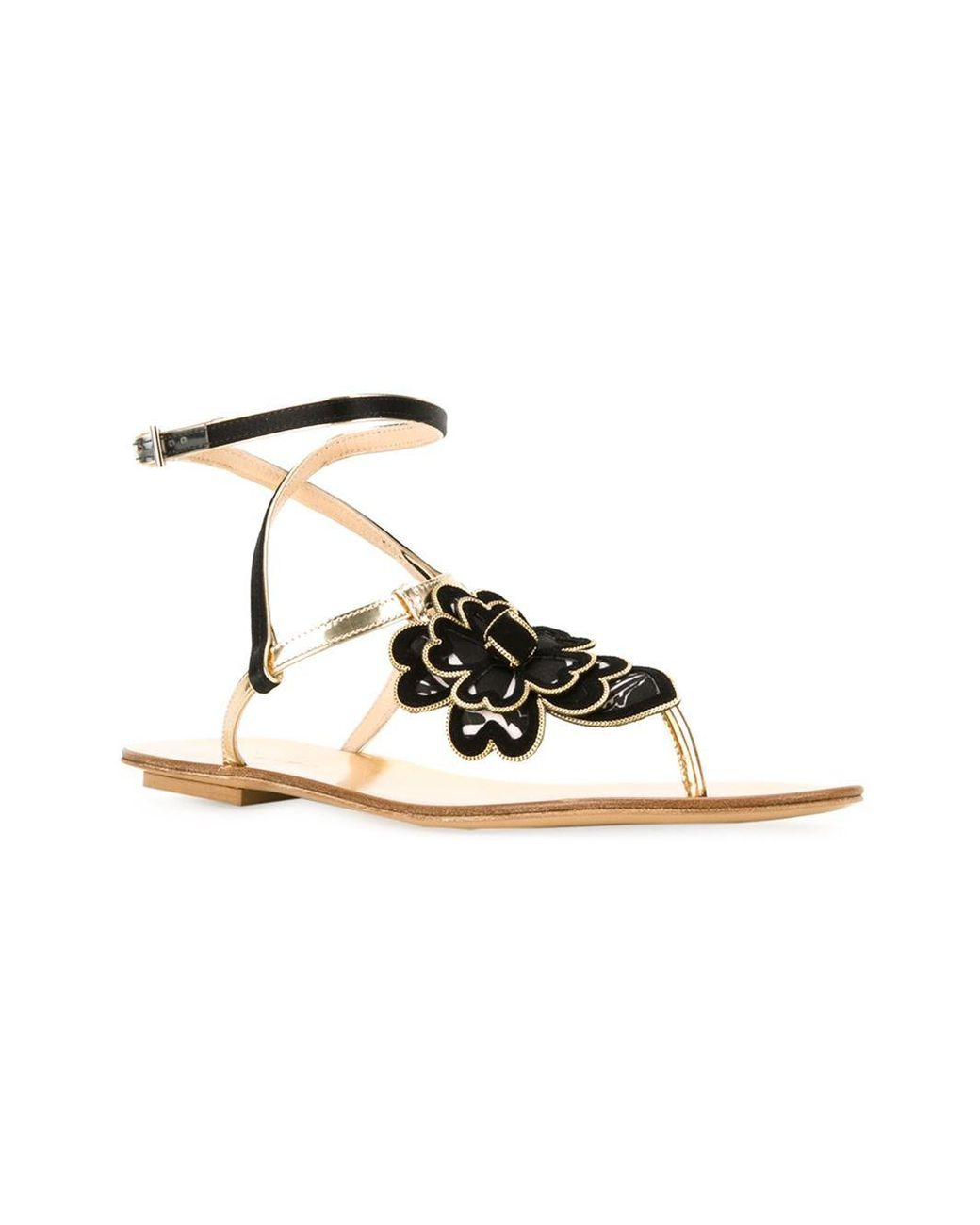 In Lyst Etro Tdcxhrsqb Flat Sandals Metallic Flower F51KJ3uTlc