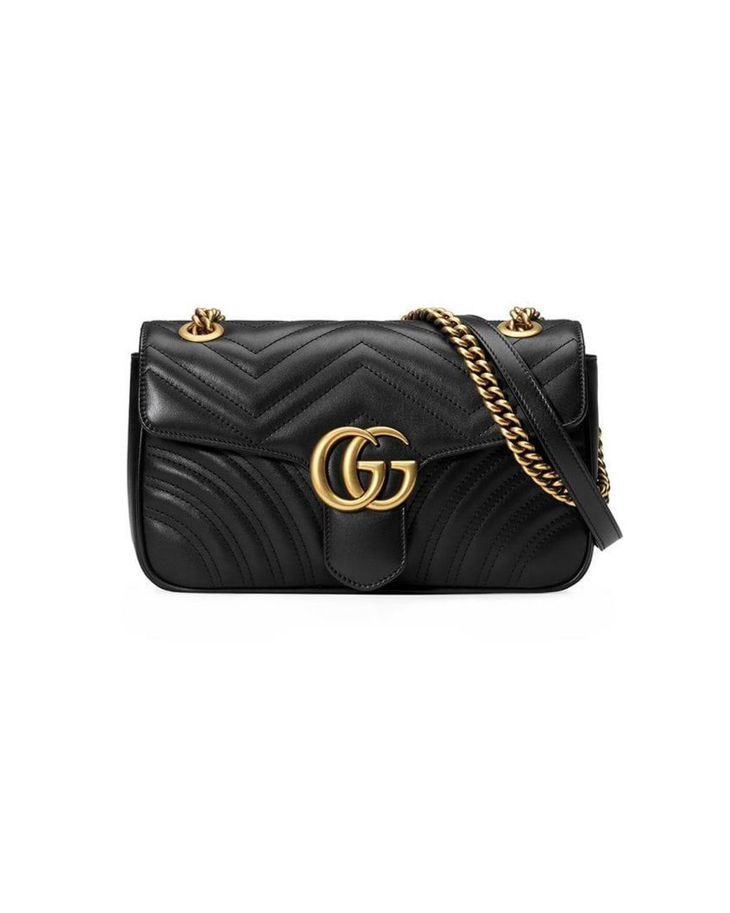 dce4c14340a Gucci Women s Black GG Marmont Medium Leather Shoulder Bag in Black ...