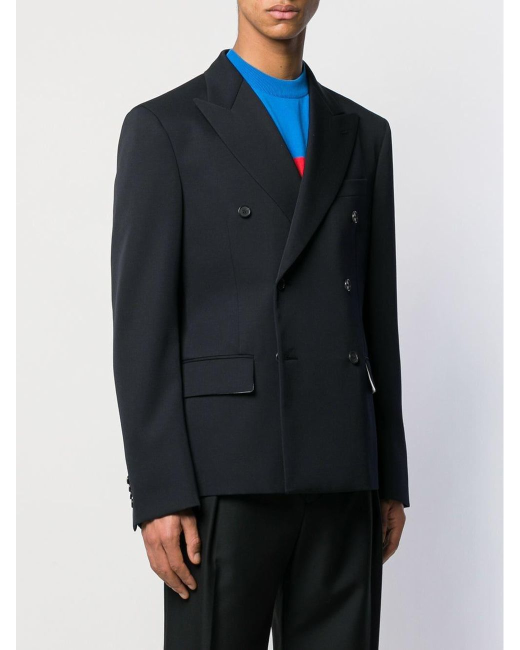 45f63cd5b443 CALVIN KLEIN 205W39NYC Double Breasted Blazer in Blue for Men - Lyst