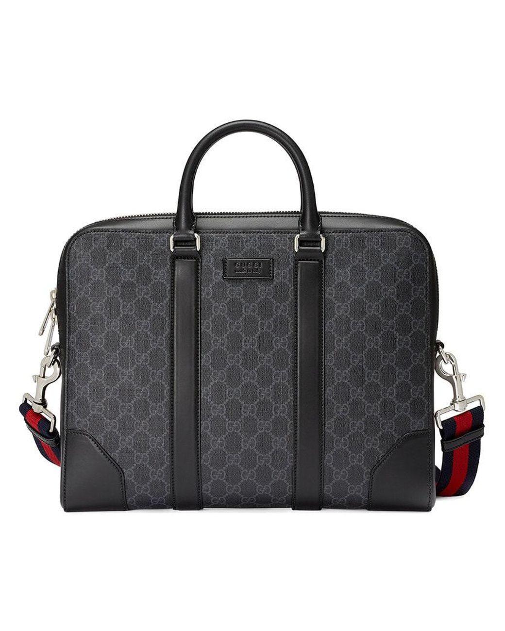 5791ed869605 Gucci GG Supreme Briefcase in Black for Men - Save 12% - Lyst
