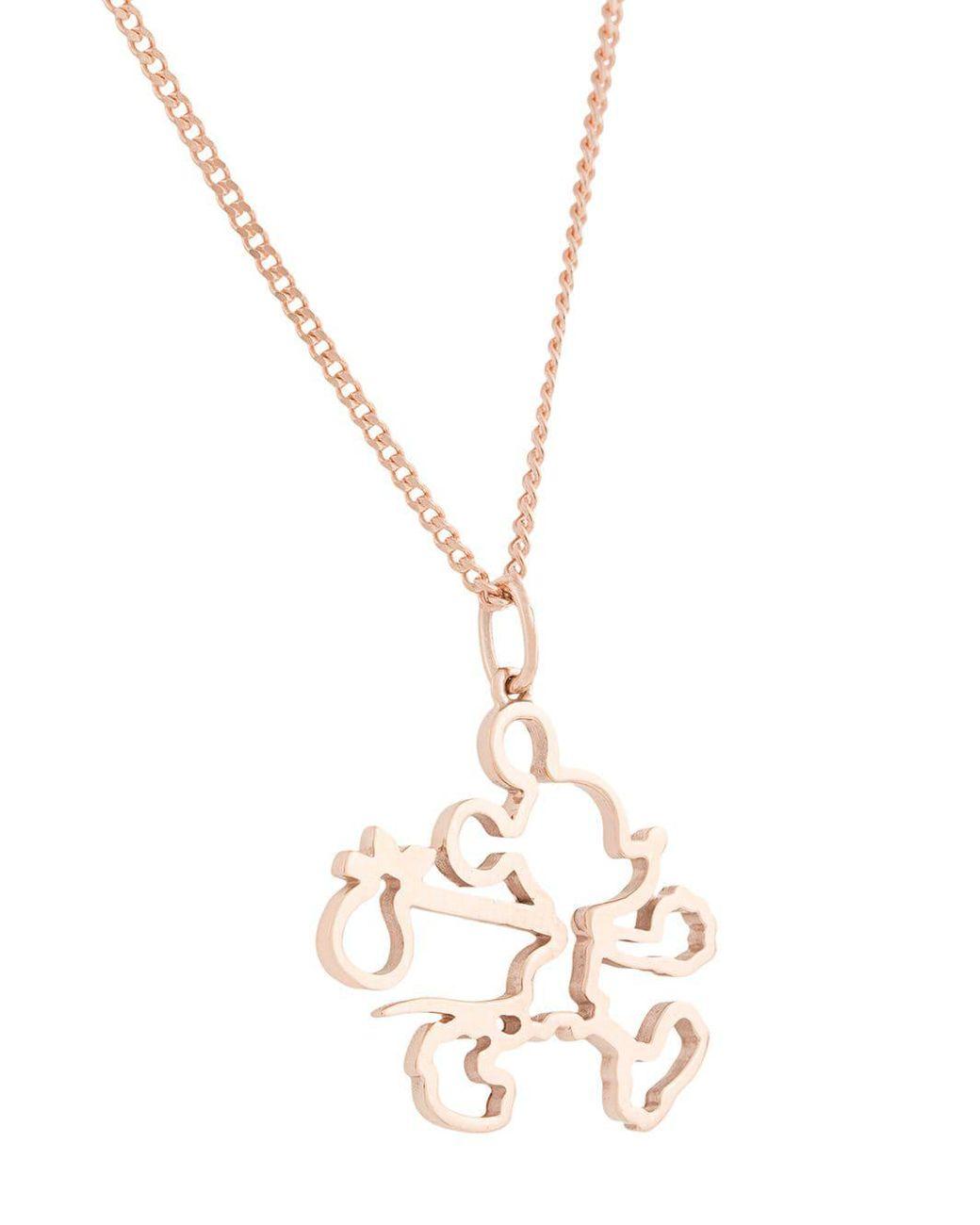 624907b608c0 Lyst - Karen Walker Runaway Mickey Outline Necklace in Pink
