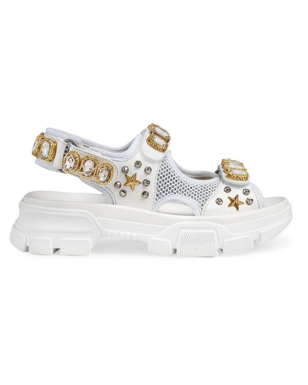 ced40887b Gucci Leather And Mesh Sandal With Crystals in White - Lyst