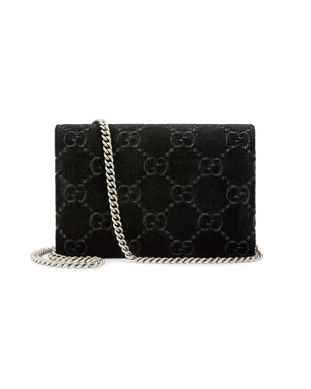 8a978afe9f40 Gucci Dionysus GG Velvet Mini Chain Wallet in Black - Lyst