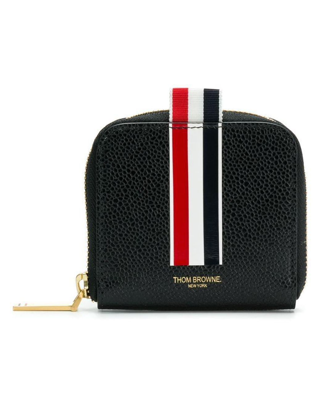 b5981032d42b Lyst - Thom Browne Vertical Inatarsia Stripe Zip-around Cardholder In Pebble  Grain Leather in Black for Men