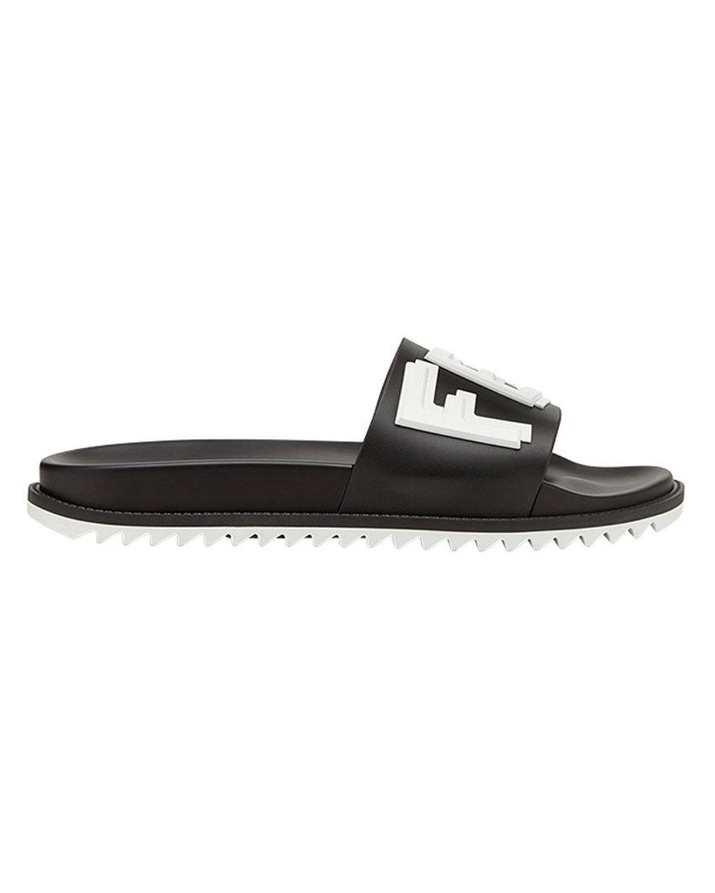 09eaf03eb Fendi Logo Slide Sandals in Black for Men - Save 42% - Lyst