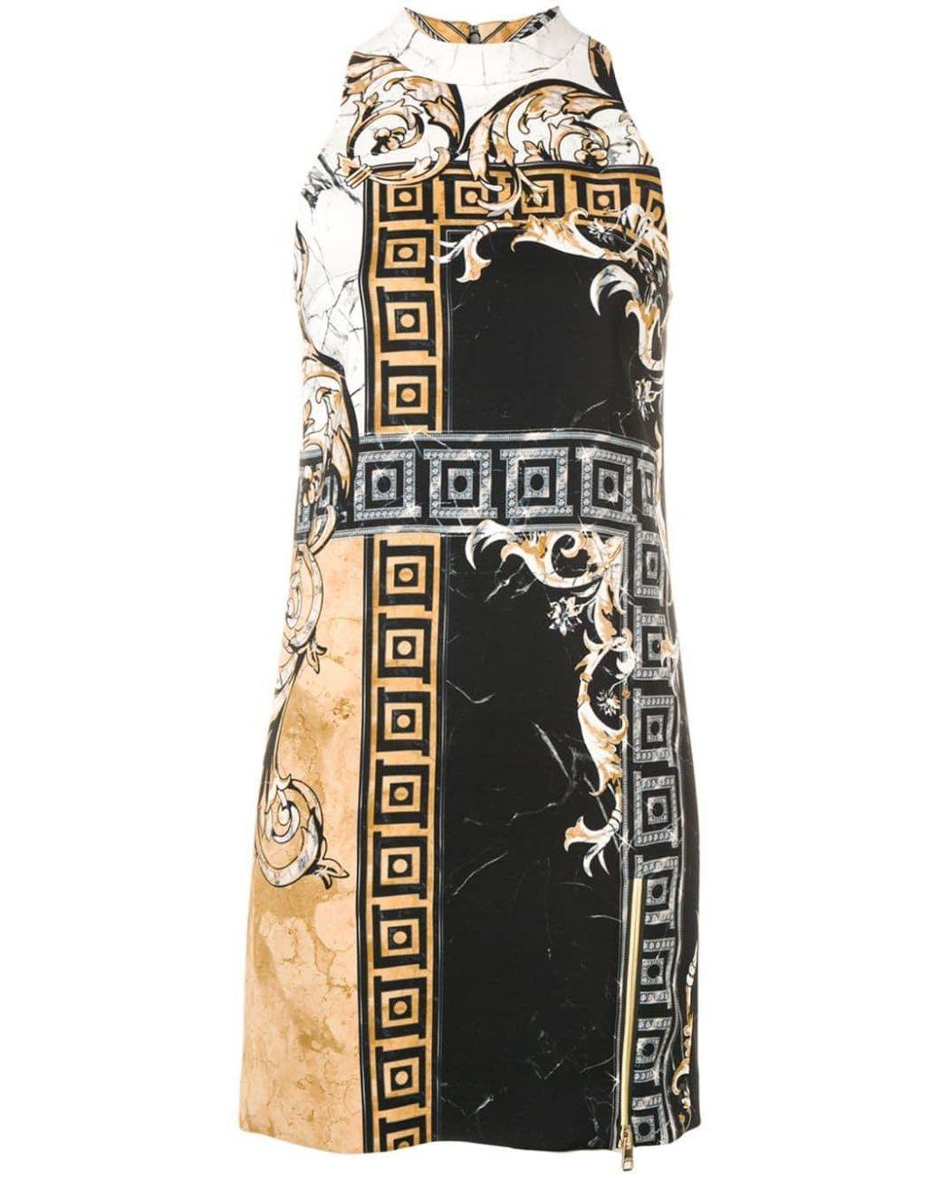 ef63ea1eaba4 Versace Marble Baroque Print Dress in Black - Save 70% - Lyst
