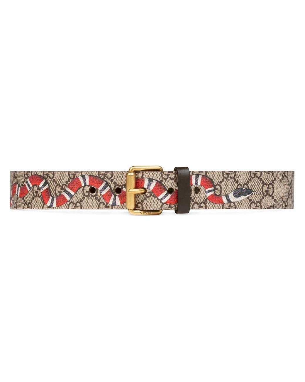 5a936a65d Gucci Snake Print Gg Supreme Belt for Men - Save 13% - Lyst