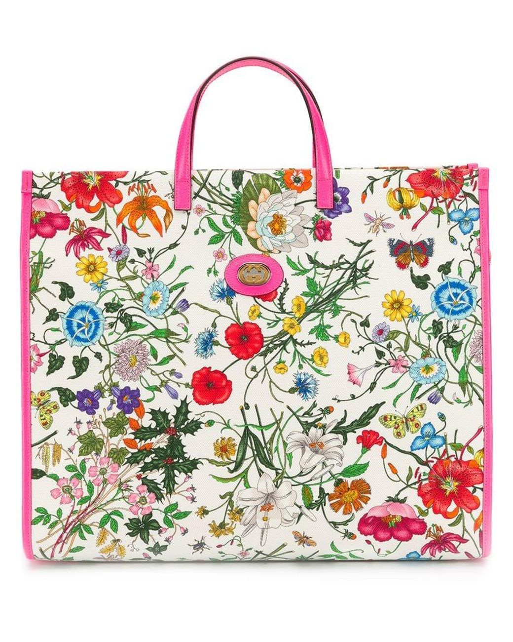 7275a7f7780 Gucci Floral Print Tote Bag in White - Lyst
