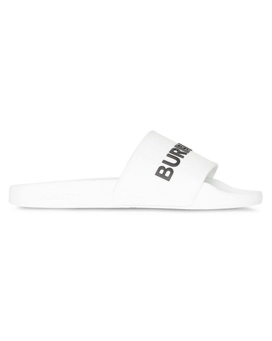 11d8d390fea7 Burberry Kingdom Print Slides in White - Lyst