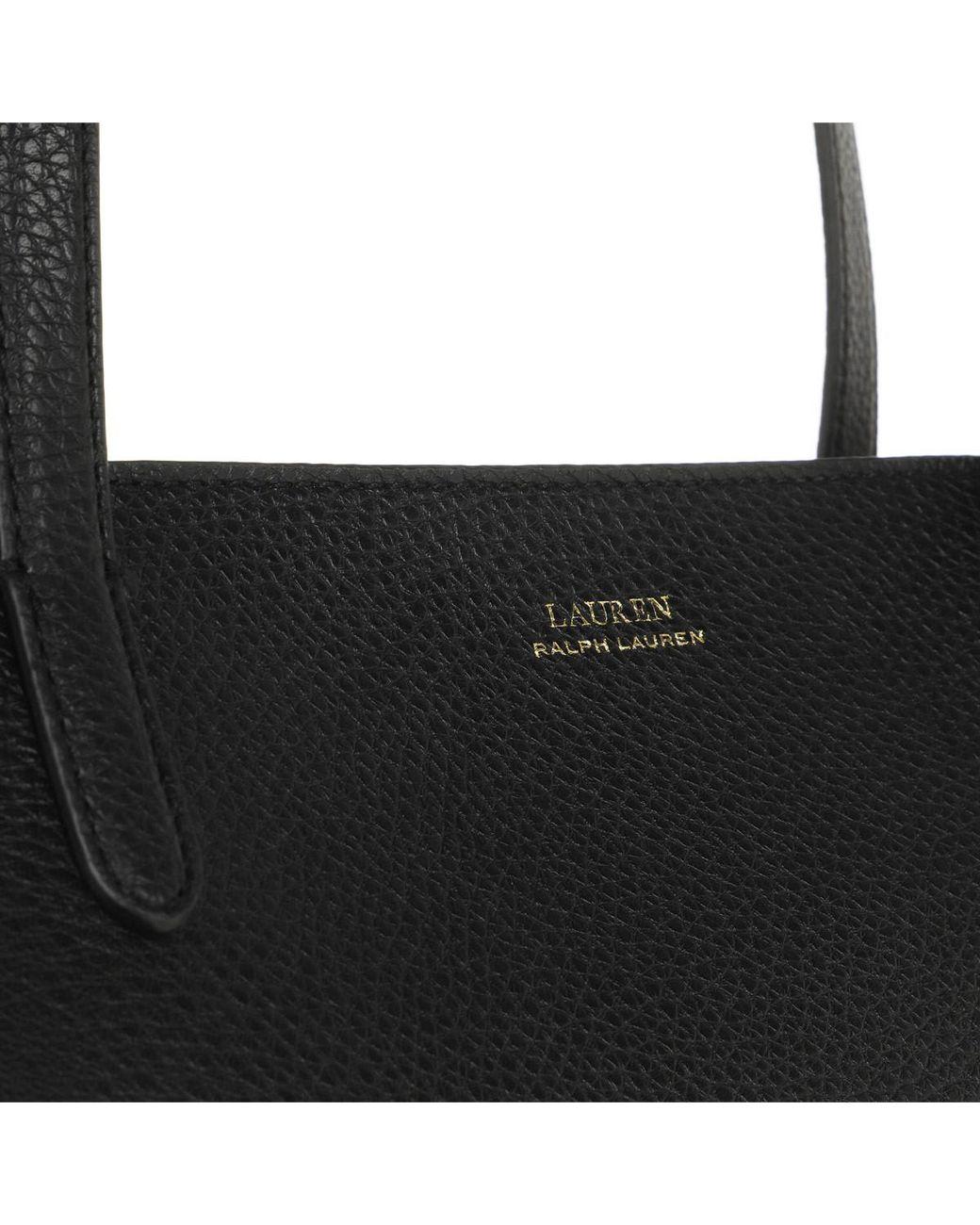 27801ed53 Lauren by Ralph Lauren Merrimack Top Zip Tote Medium Black/taupe in Black -  Lyst