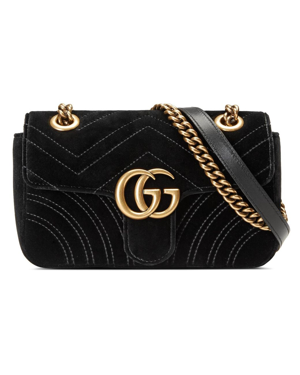 9ba5ac0ba7b55d Gucci GG Marmont Velvet Mini Shoulder Bag in Black - Lyst