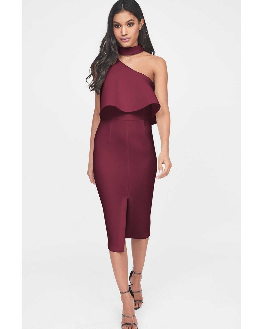 6f380155634 Lavish Alice Burgundy Scuba High Neck One Shoulder Midi Dress in Purple -  Lyst