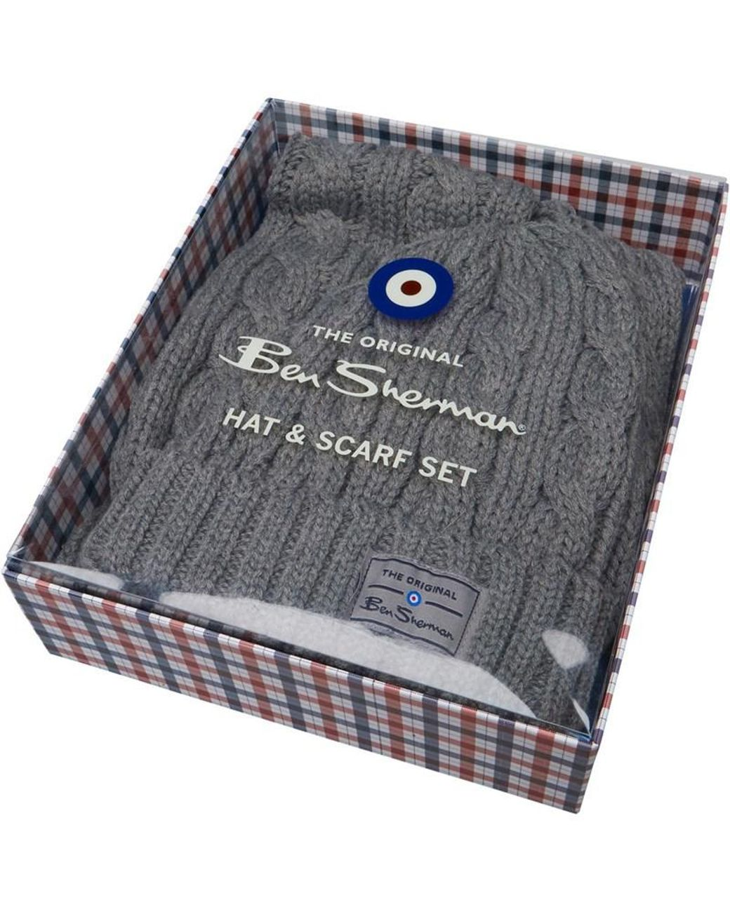81e4557827d92 Ben Sherman Reyes Cable Hat & Scarf Set Grey in Gray for Men - Lyst