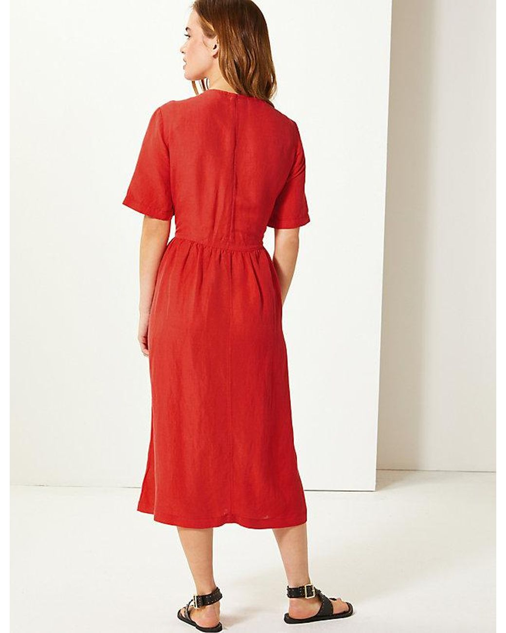 118d1eb7f25 Lyst - Marks   Spencer Petite Patch Pocket Waisted Midi Dress in Red