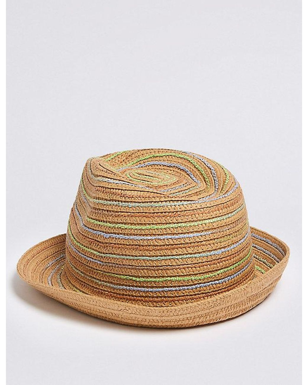 1daff07c2 Lyst - Marks & Spencer Kids' Straw Trilby Hat With Sun Smart Upf50+ ...