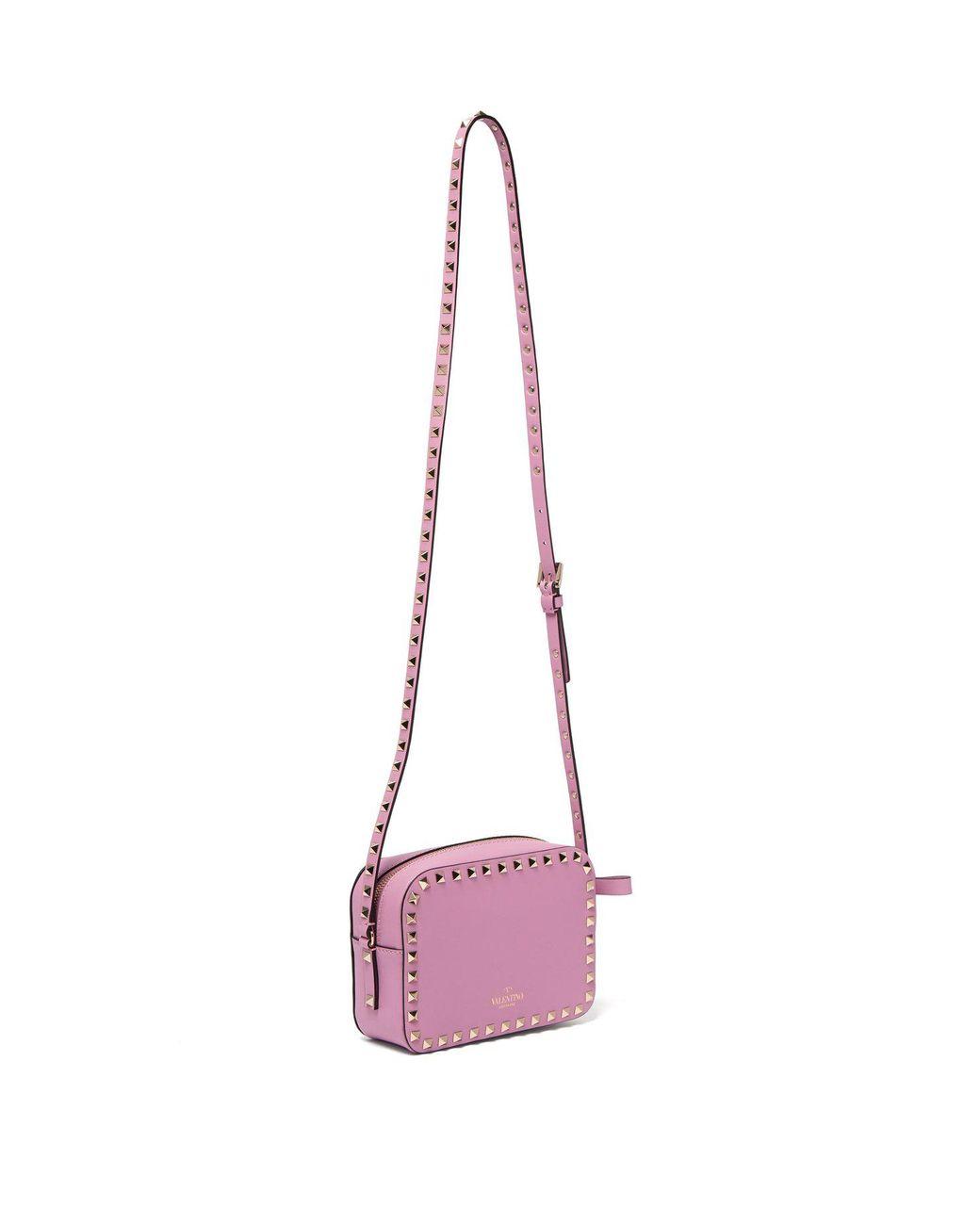 b1b52b321a Valentino Rockstud Camera Leather Cross Body Bag in Pink - Lyst