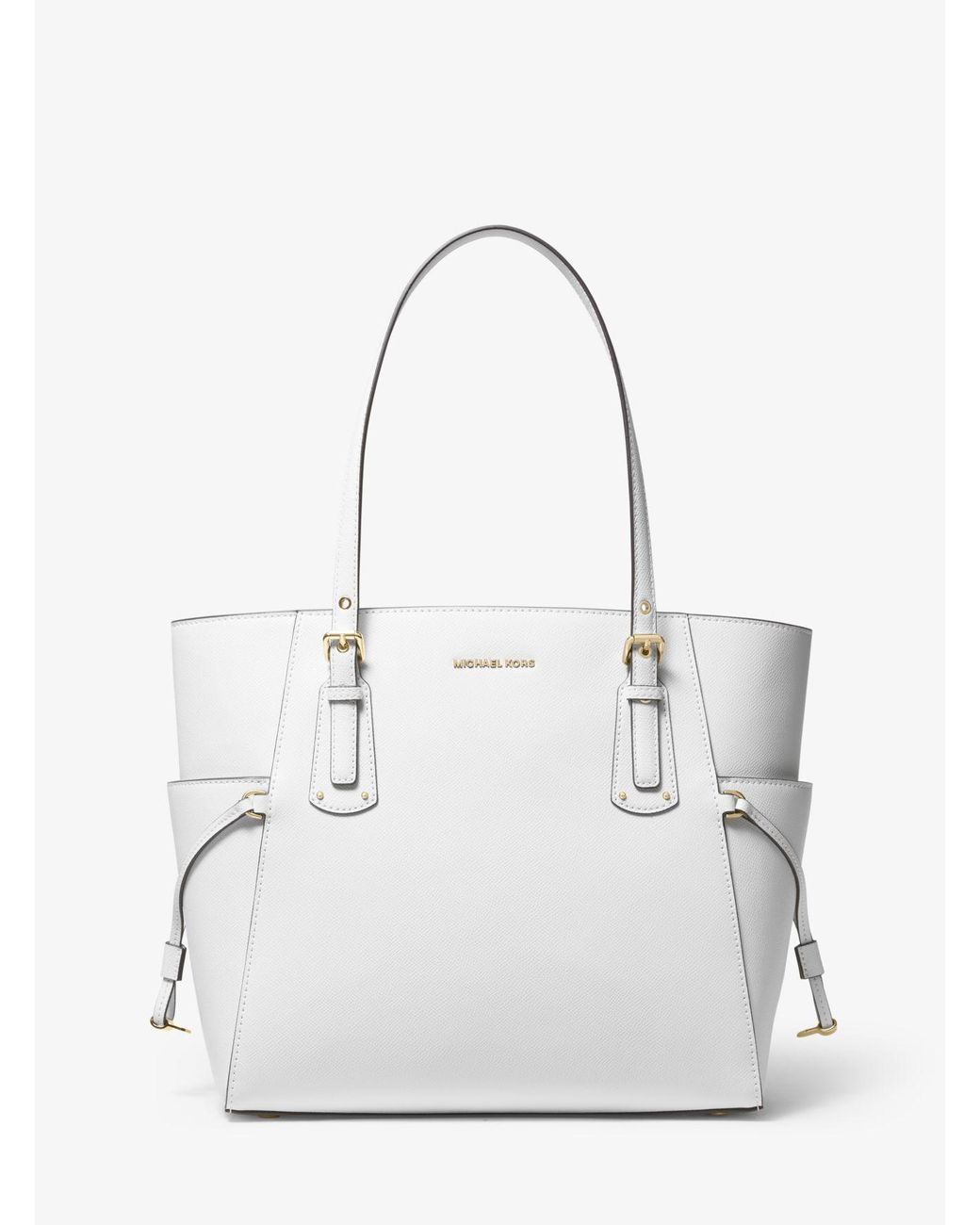 2ddab32c467b Michael Kors Voyager Small Crossgrain Leather Tote Bag in White - Lyst