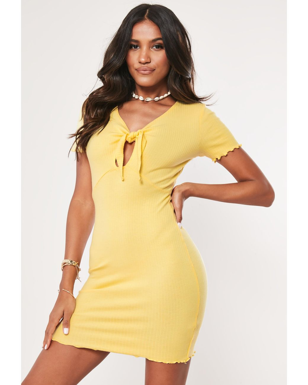 46f3998d177d Lyst - Missguided Lemon Ribbed Tie Front Bodycon Mini Dress in Yellow