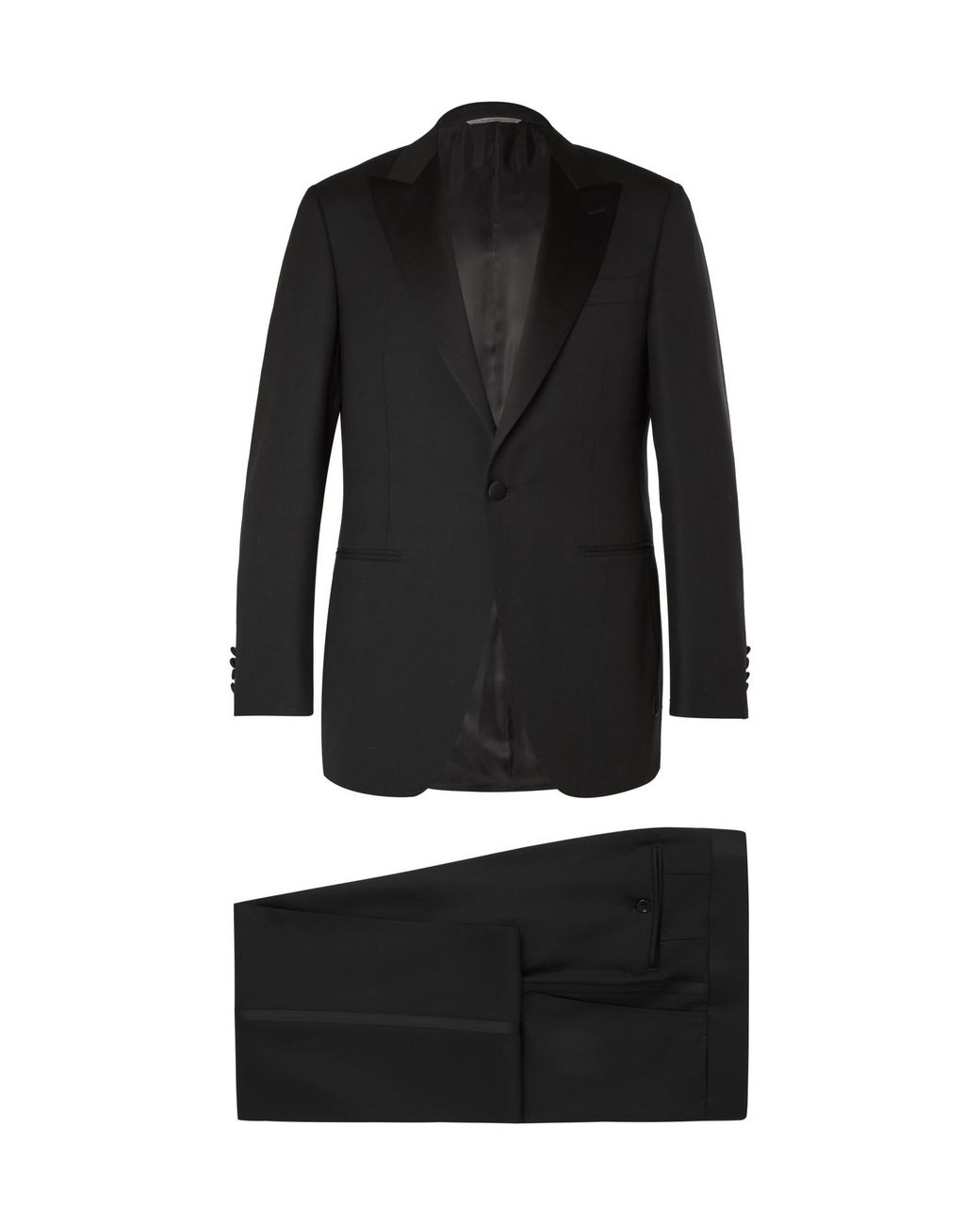 e62d80f6a42 Canali Black Slim-fit Satin-trimmed Wool Tuxedo in Black for Men - Lyst