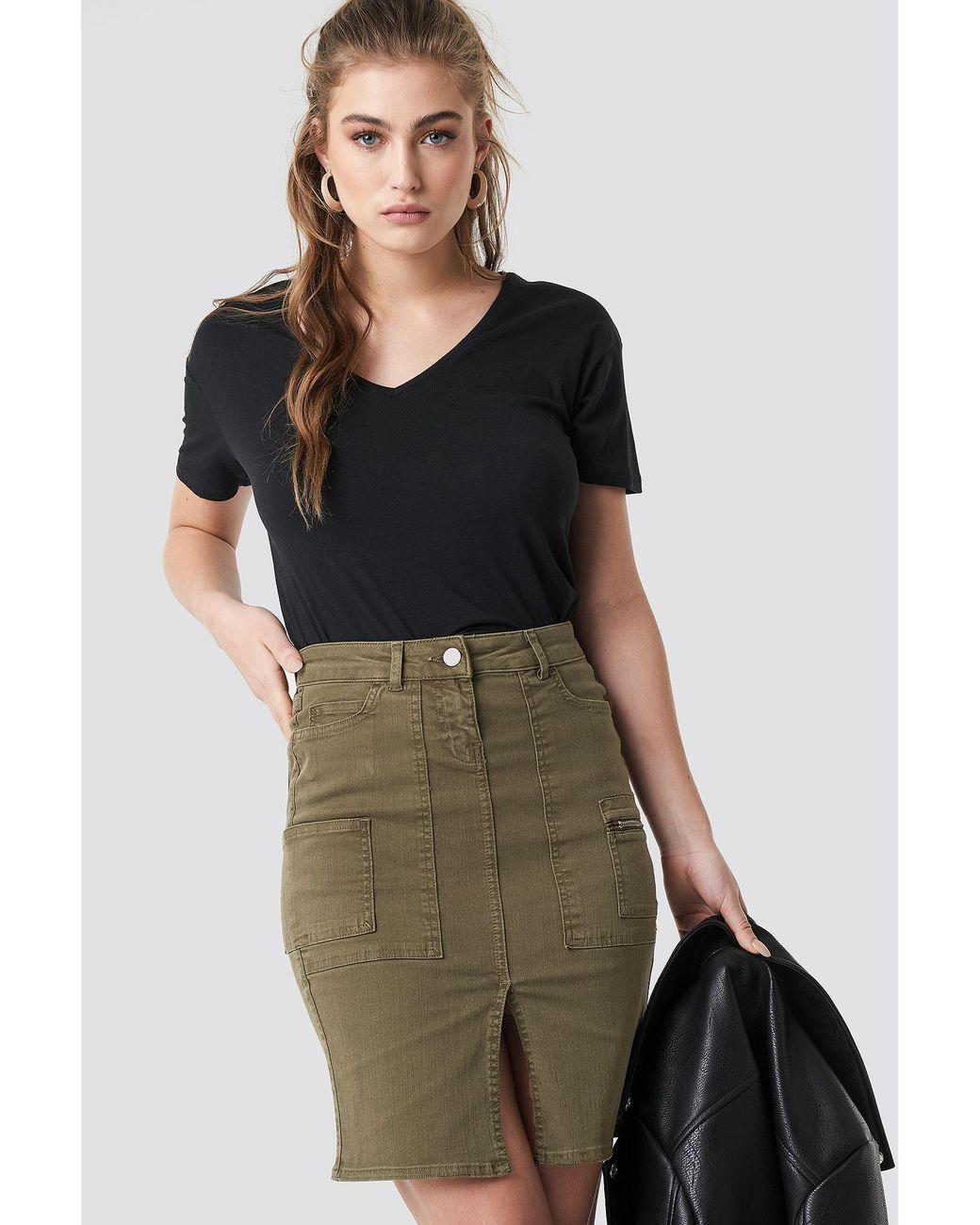 d5dcef22fc Trendyol Slit Midi Skirt Green - Lyst