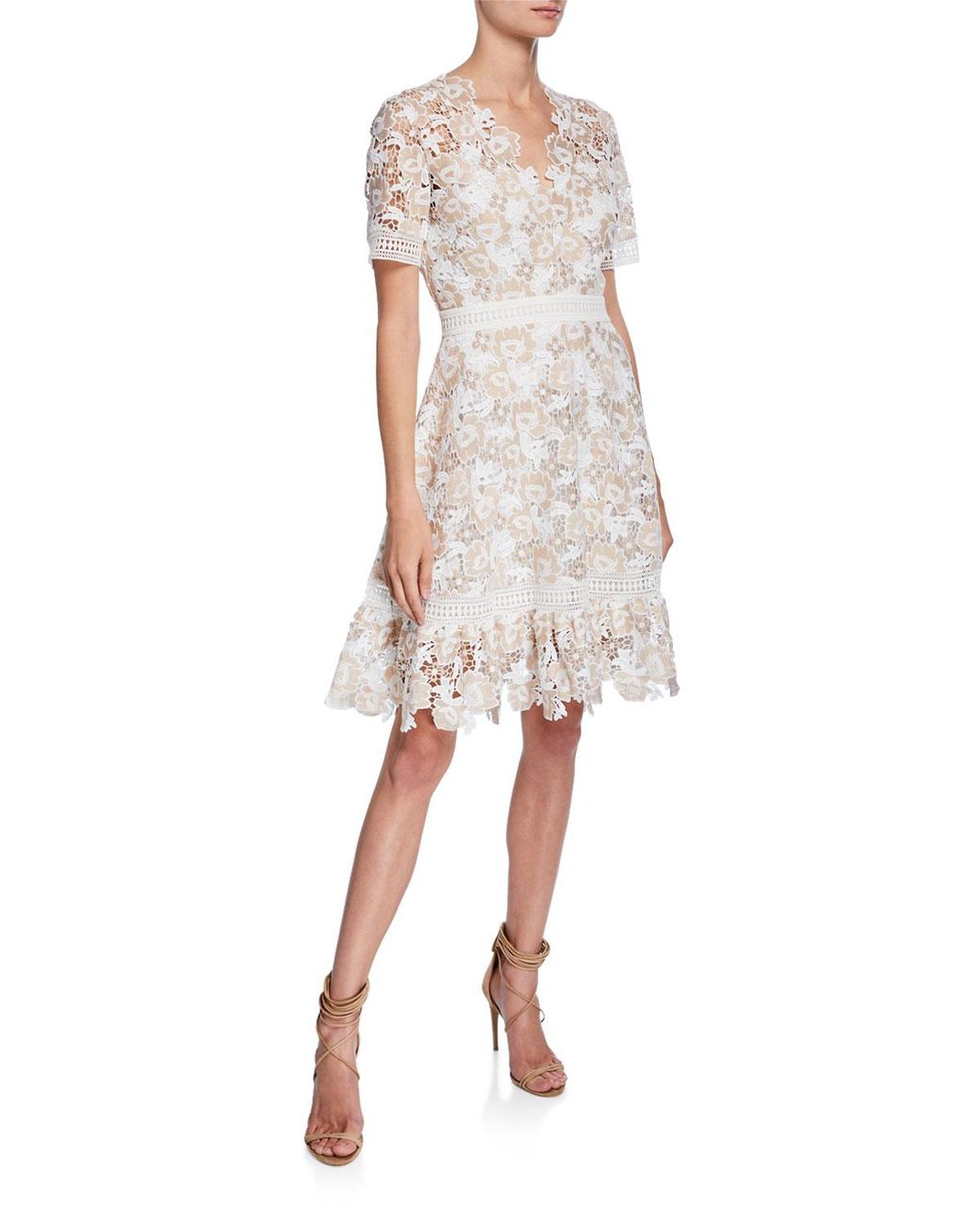 a825b02f785 Shoshanna Toscana V-neck Short-sleeve Floral-lace Dress in Natural - Save  25% - Lyst