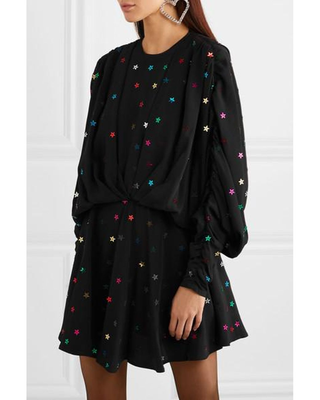 c7a0bd67b5561 Attico Gathered Sequin-embellished Crepe De Chine Mini Dress in Black - Lyst