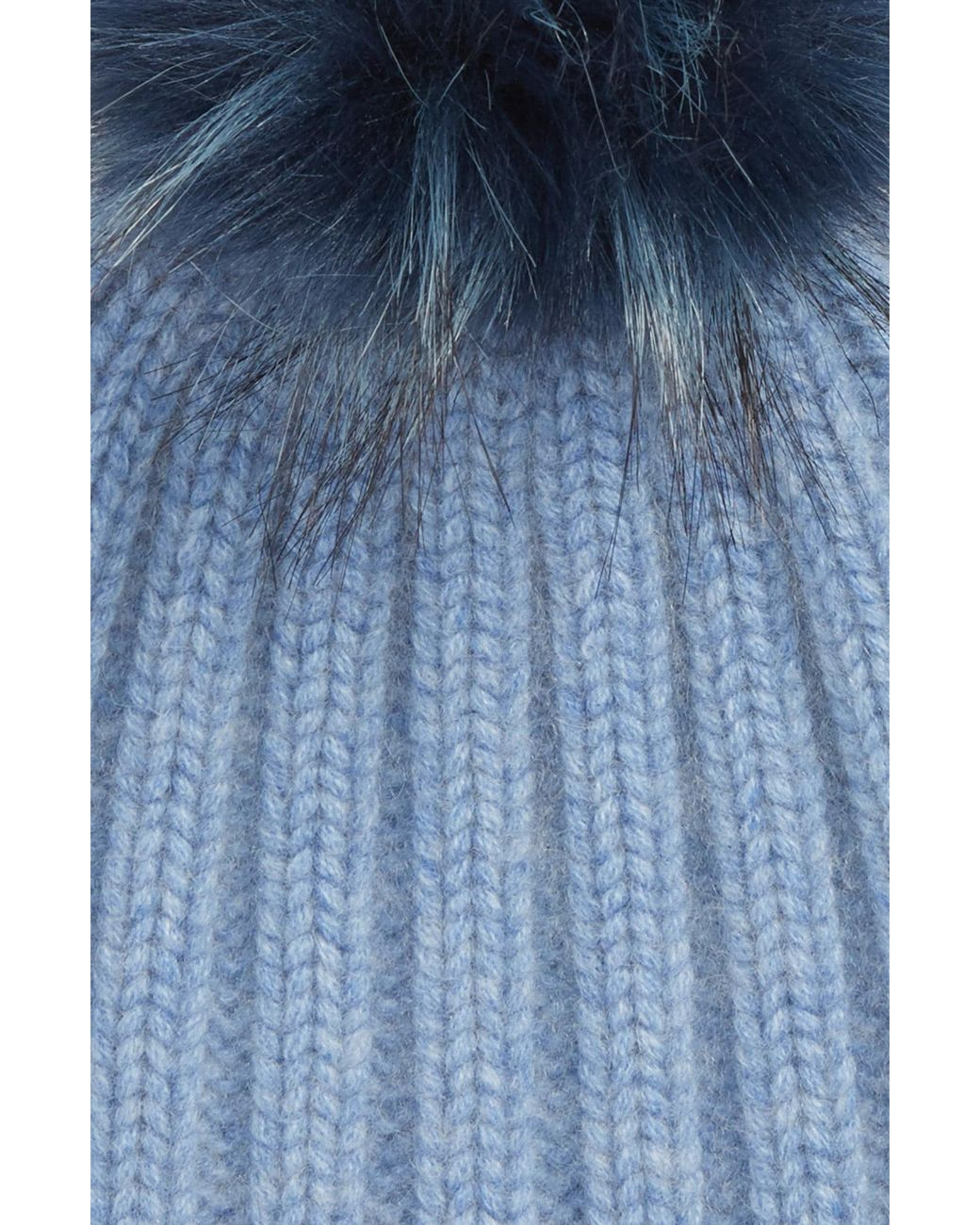 8978ba0ec5670 Lyst - Halogen Halogen X Atlantic-pacific Cashmere Beanie With Faux Fur Pom  in Blue
