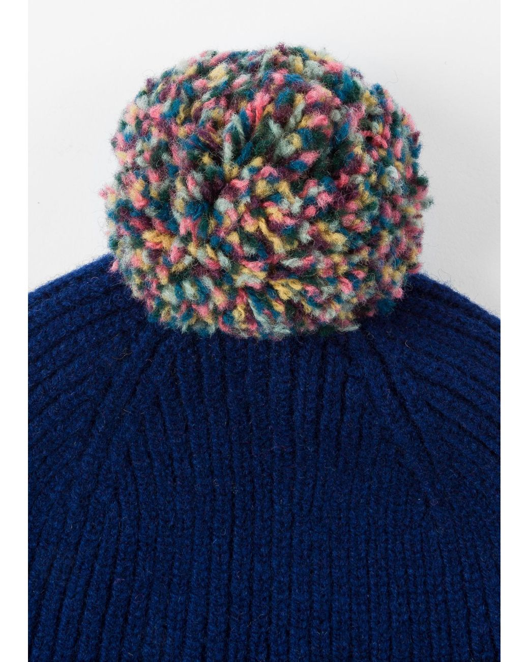 e4f4f7172f170e Paul Smith Navy Pom-pom Wool Beanie Hat in Blue for Men - Save 49% - Lyst