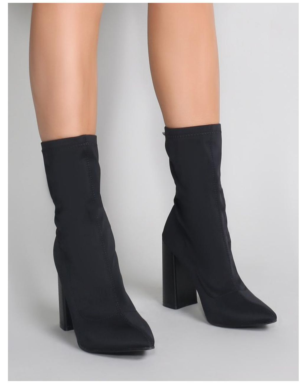 cbd32552795f Lyst - Public Desire Libby Flared Heel Sock Fit Ankle Boots In Black Stretch  in Black