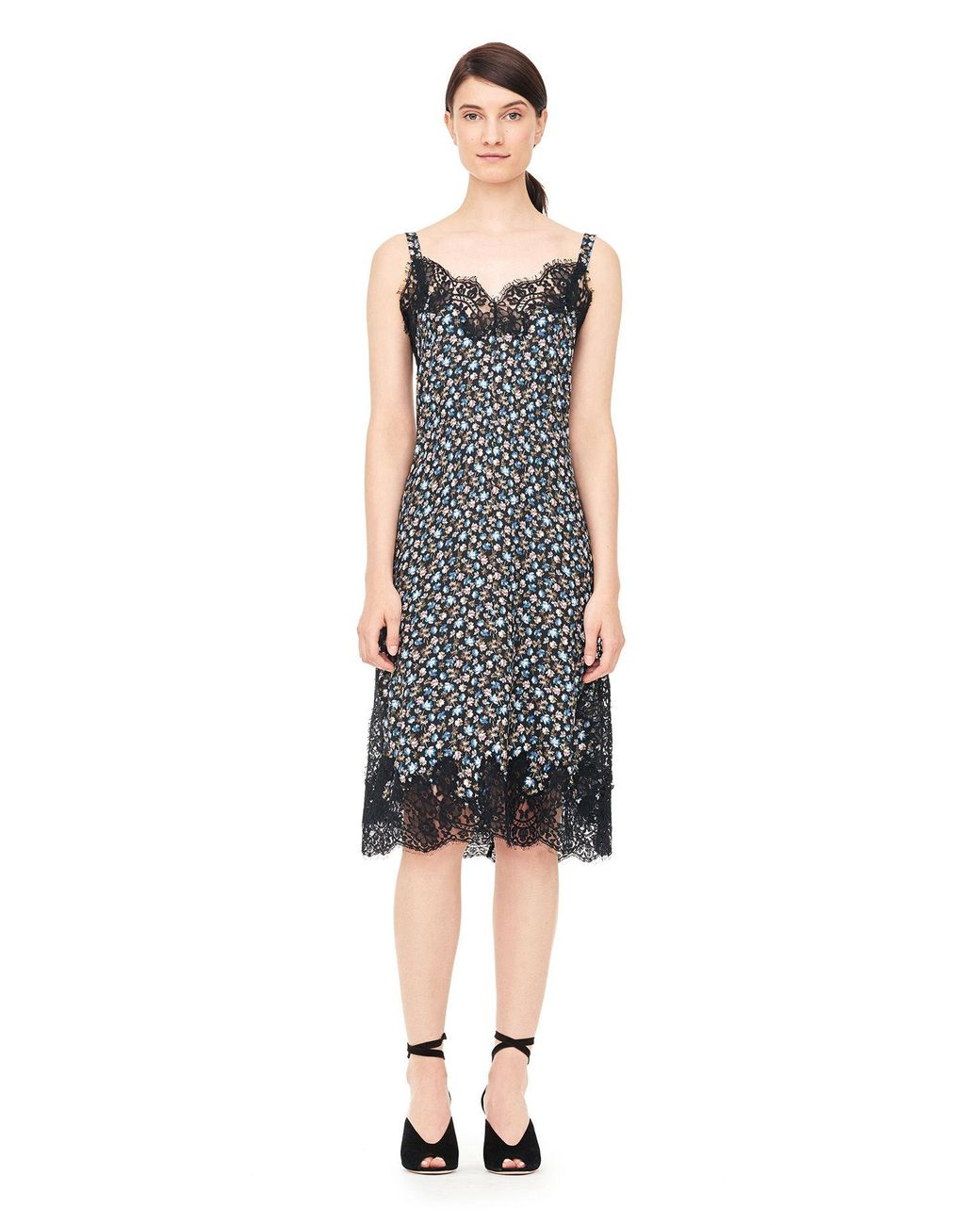 d14672fa41d Rebecca Taylor Zelma Floral Silk Slip Dress With Lace Black