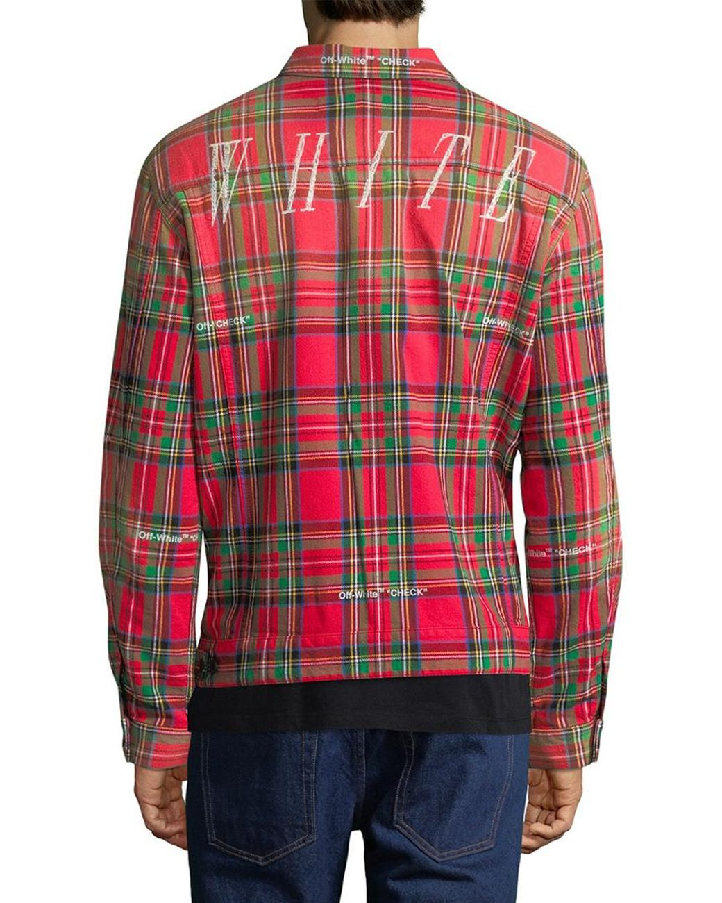 9fa3ce2e8c43 Off-White c o Virgil Abloh Off-white Tartan Print Trucker Jacket in Red for  Men - Save 26% - Lyst
