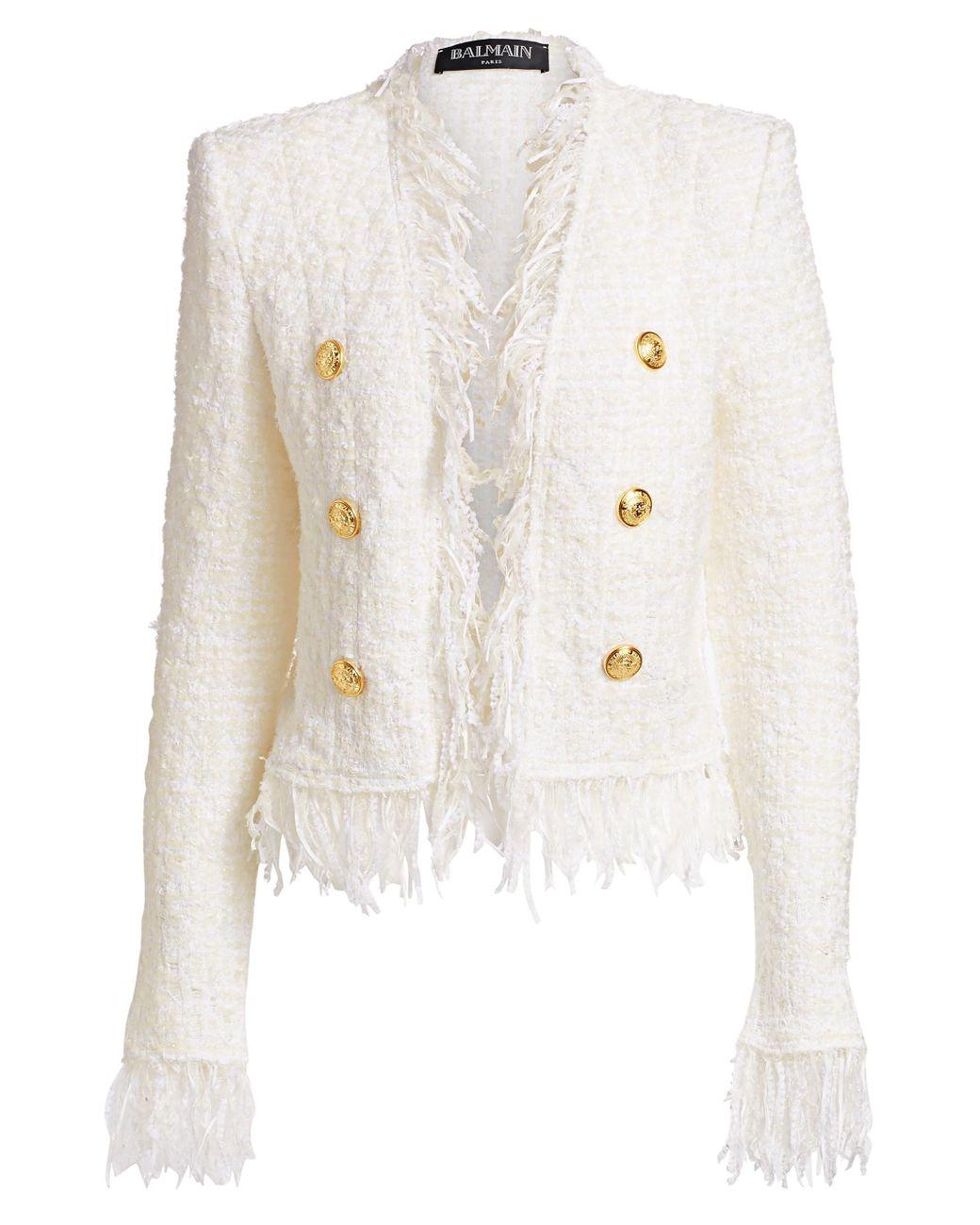 0aad2fe8 Balmain Women's Short Fringe Tweed Jacket - White in White - Save 41% - Lyst