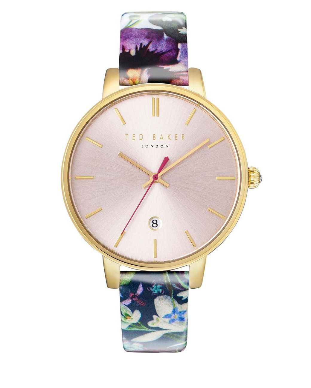 212c02ce4 Long-Touch to Zoom. Long-Touch to Zoom. 1  2  3. Ted Baker - Metallic Kate  Round Stainless Steel And Floral-print Leather Strap Watch ...