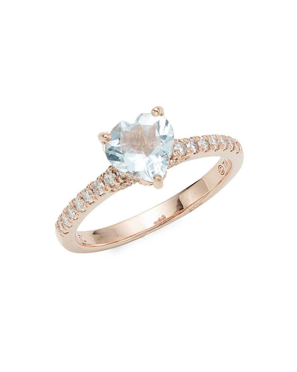 912f31e5fa0c5 Lyst - Saks Fifth Avenue 14k Rose Gold, Aquamarine & Diamond Heart ...
