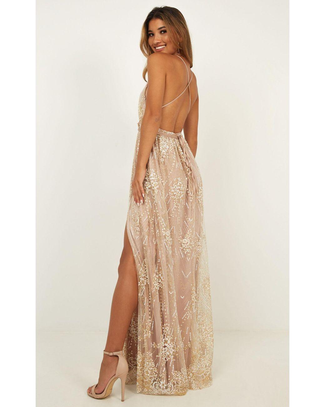 63c798f0fc5 Showpo New York Nights Maxi Dress in Metallic - Lyst