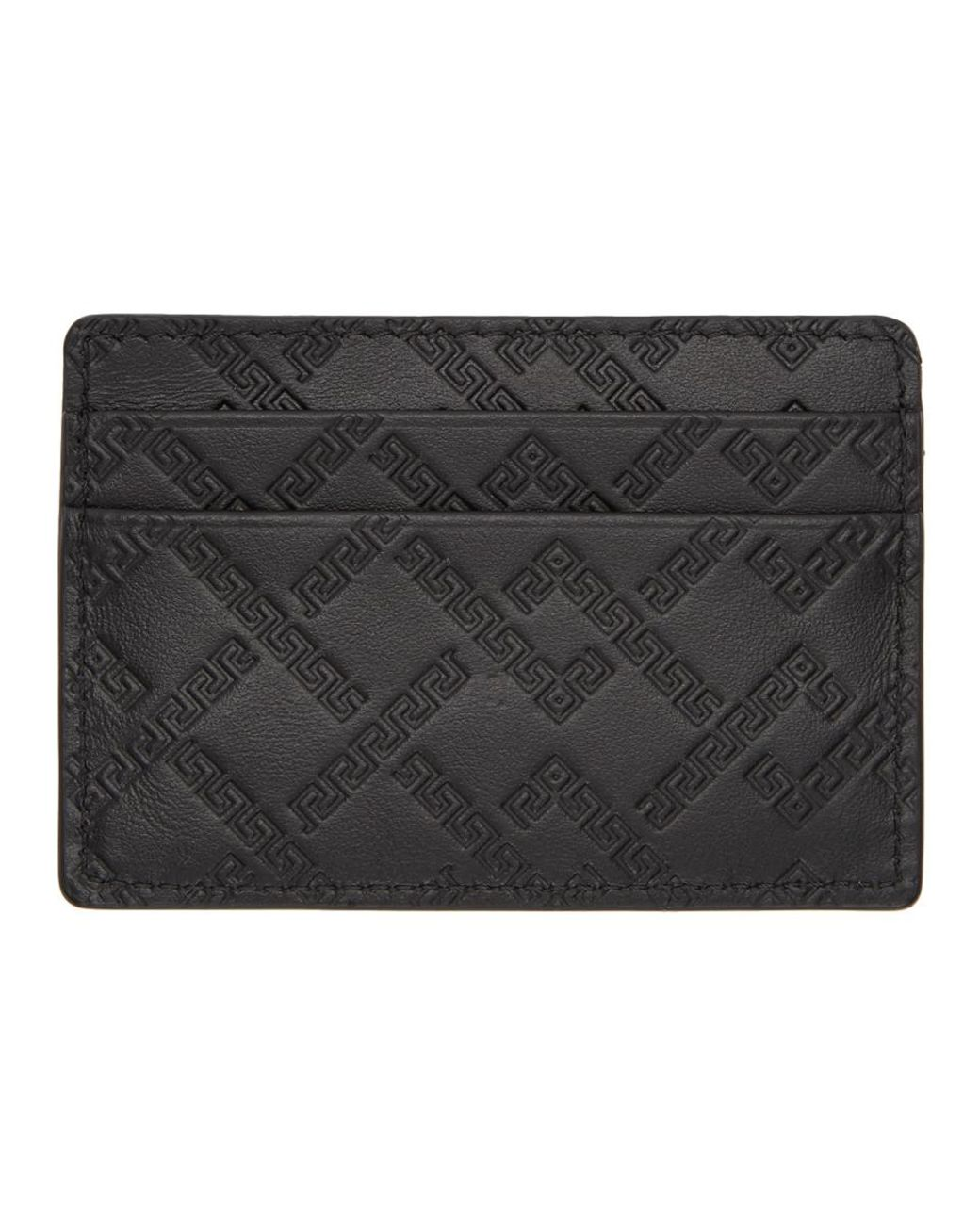 384bcc7bcf Versace Black Greek Key Card Holder in Black for Men - Lyst