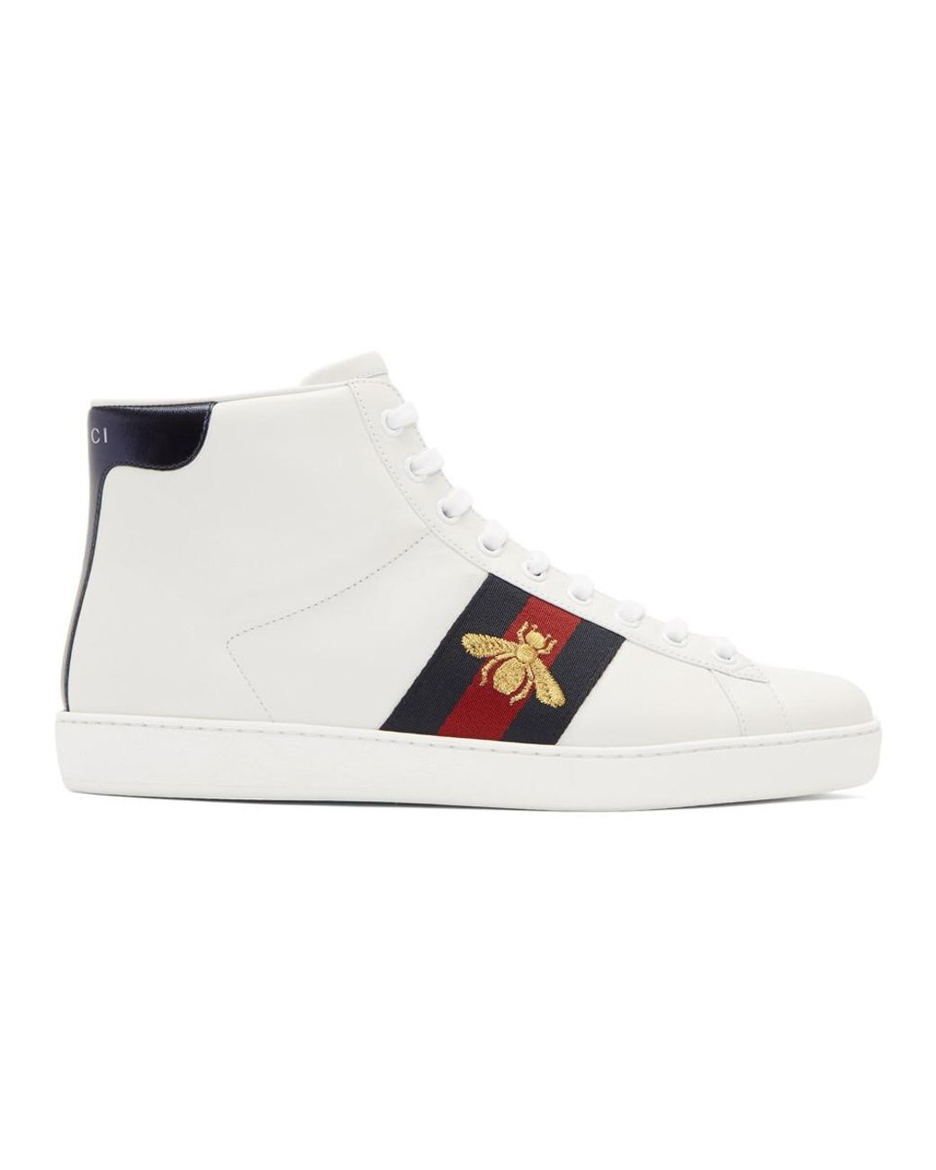 5f38be01d6e Gucci White Bee New Ace High-top Sneakers in White for Men - Lyst