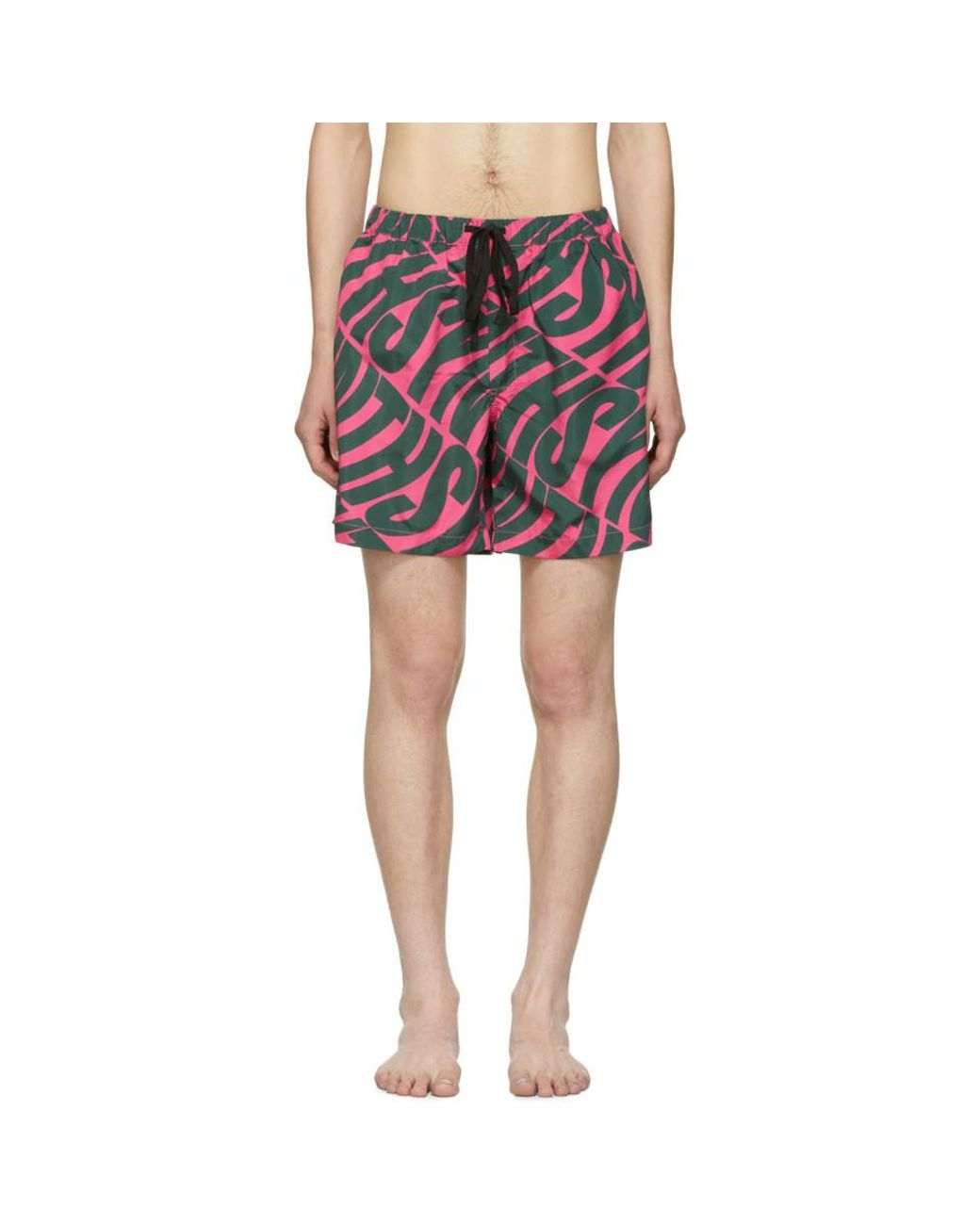 789727cdf0 DOUBLE RAINBOUU Pink And Green Synth Uuave Night Swim Shorts in Pink ...