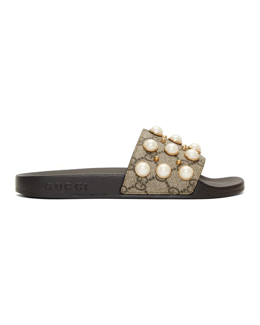 0a7f94a948d Lyst - Gucci Beige GG Supreme Pearls Pursuit Slides in Natural