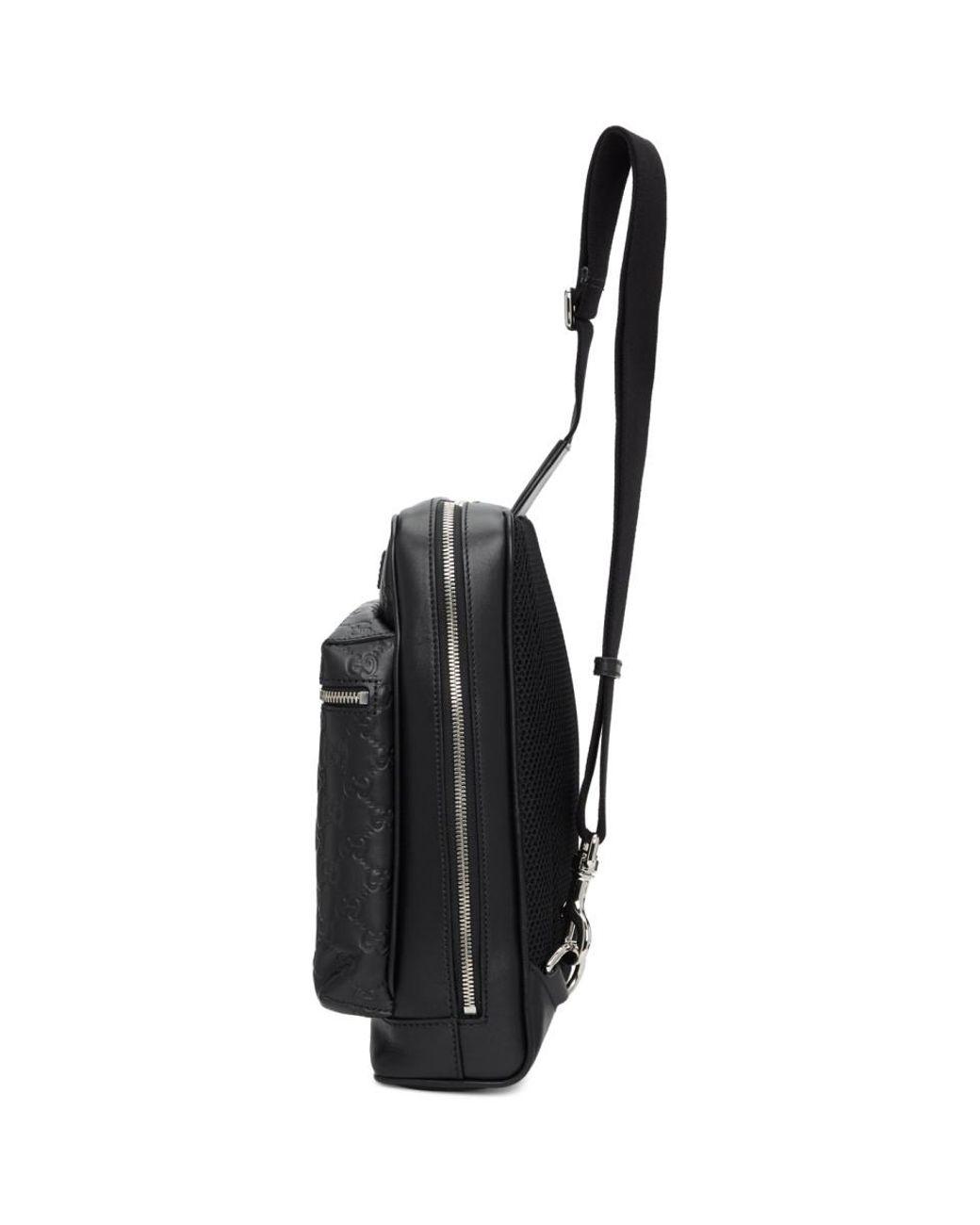 fecf60e9425 Gucci Black GG Single Strap Backpack in Black for Men - Lyst